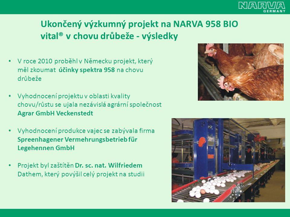 Ukončený výzkumný projekt na NARVA 958 BIO vital® v chovu drůbeže - výsledky