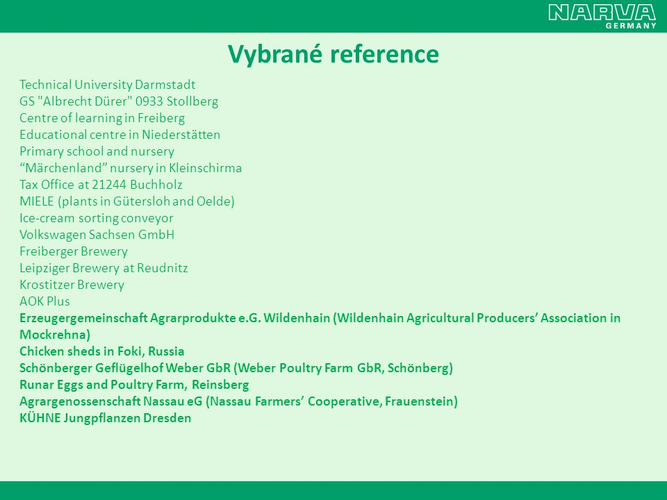 Vybrané reference Technical University Darmstadt