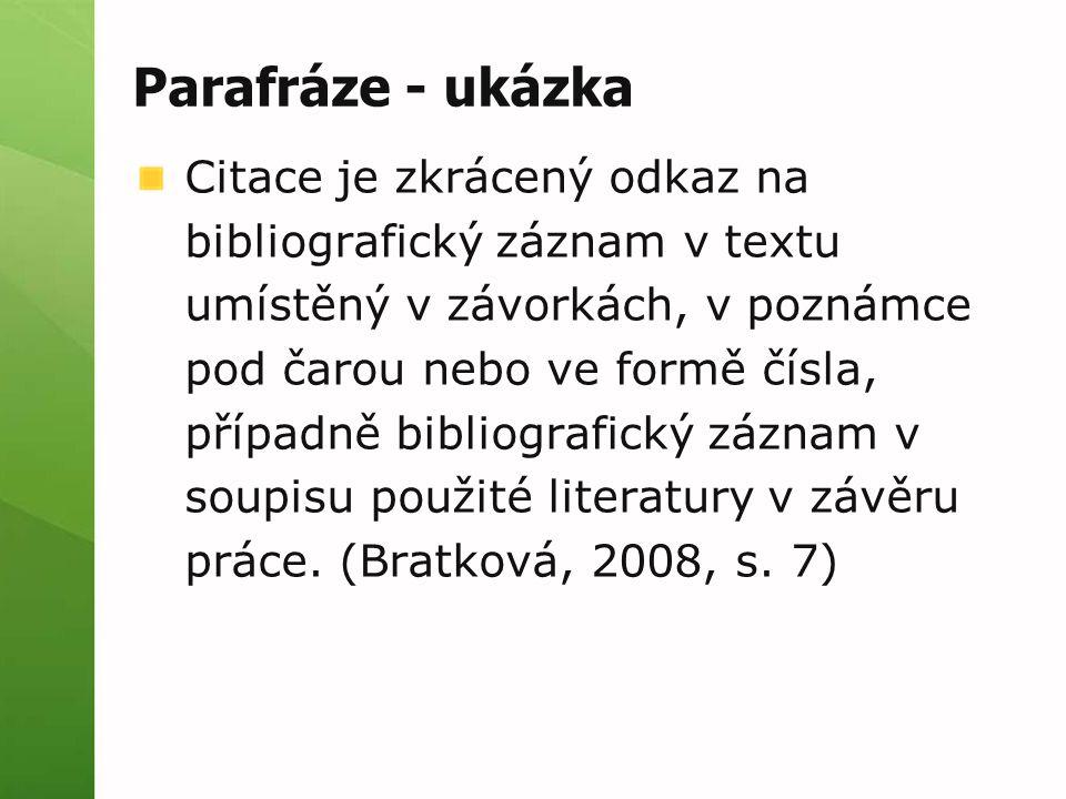 Parafráze - ukázka