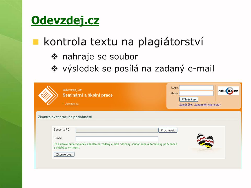 Odevzdej.cz kontrola textu na plagiátorství nahraje se soubor