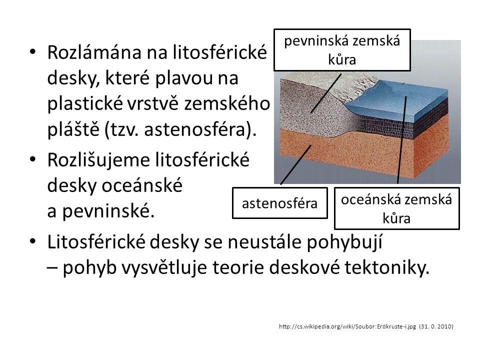 Rozlišujeme litosférické desky oceánské a pevninské.