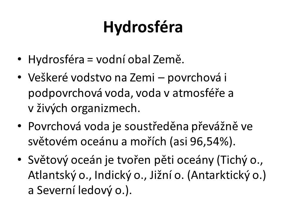 Hydrosféra Hydrosféra = vodní obal Země.