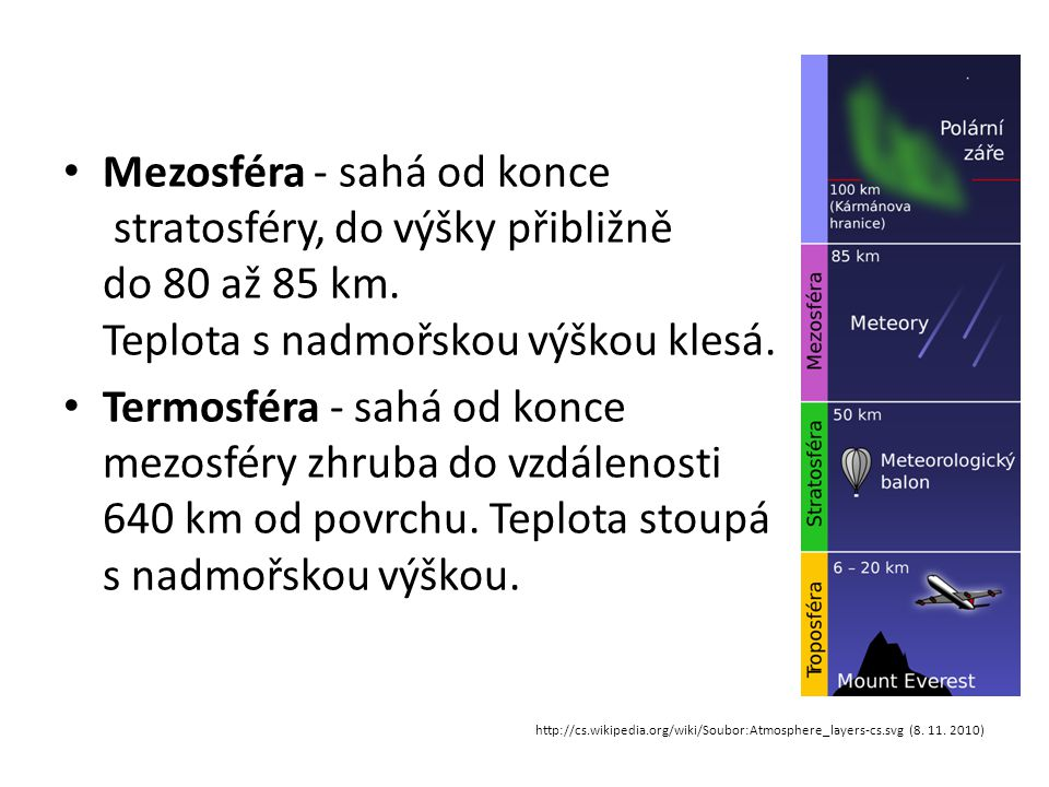Mezosféra - sahá od konce stratosféry, do výšky přibližně do 80 až 85 km. Teplota s nadmořskou výškou klesá.