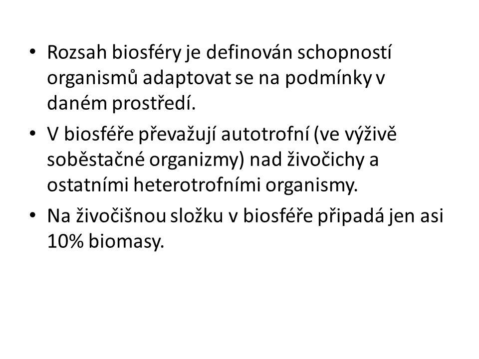Rozsah biosféry je definován schopností organismů adaptovat se na podmínky v daném prostředí.