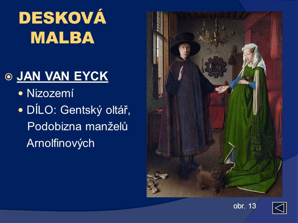 DESKOVÁ MALBA JAN VAN EYCK Nizozemí DÍLO: Gentský oltář,