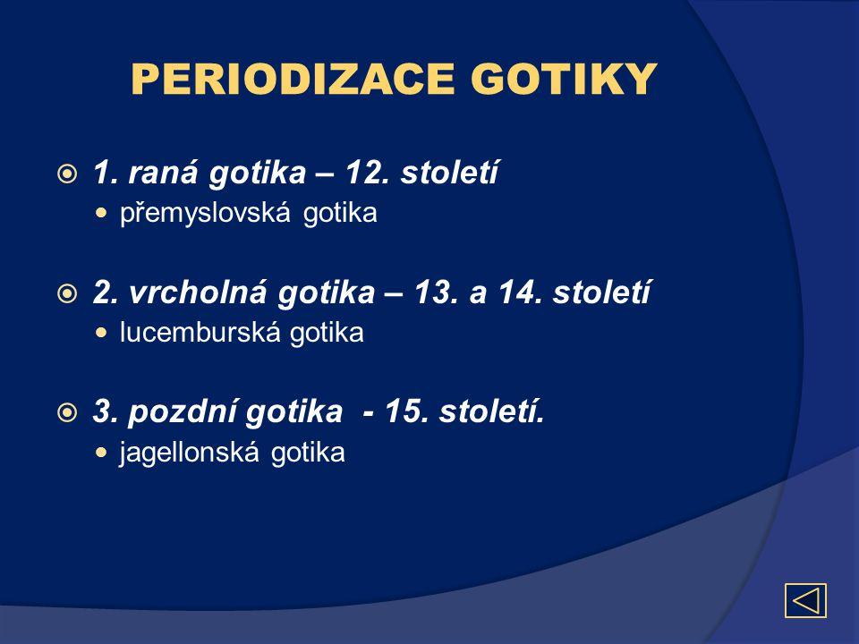 PERIODIZACE GOTIKY 1. raná gotika – 12. století