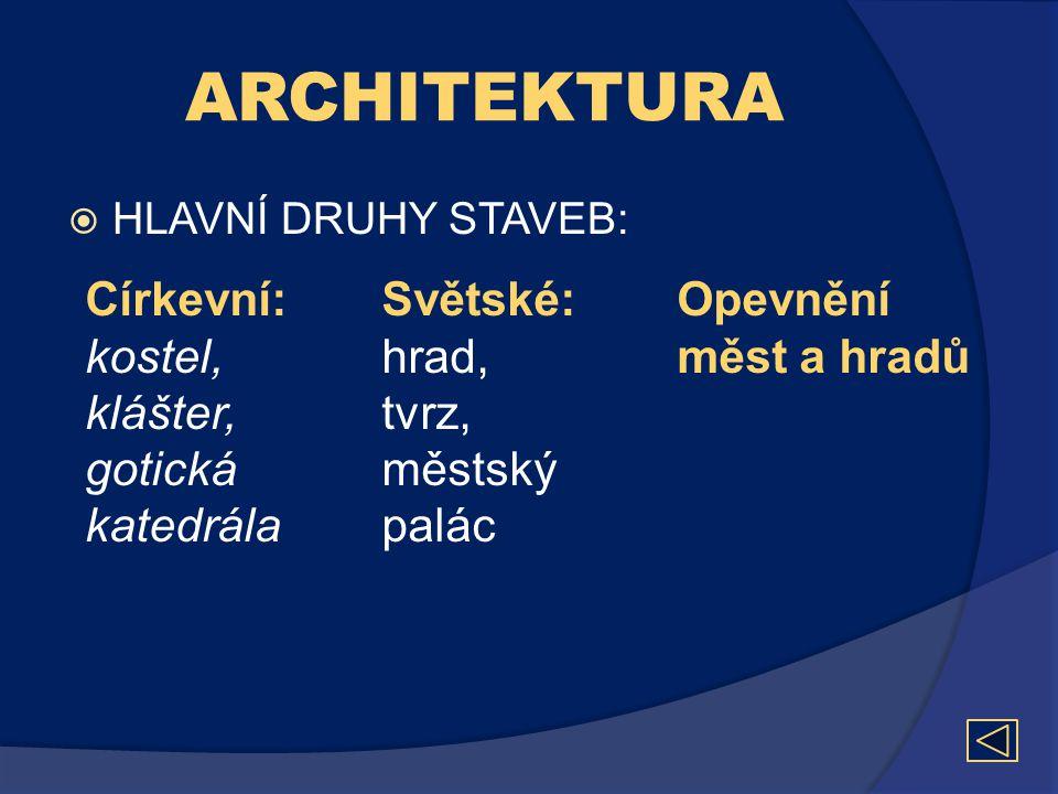 ARCHITEKTURA Církevní: Světské: Opevnění měst a hradů kostel, hrad,