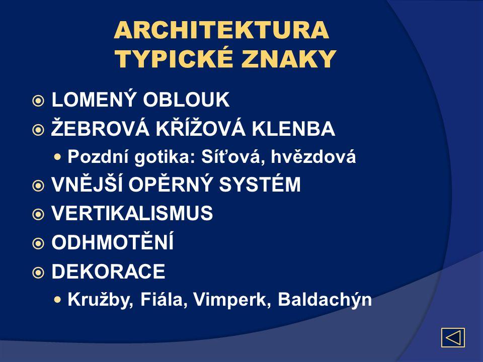 ARCHITEKTURA TYPICKÉ ZNAKY