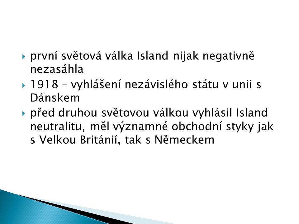 první světová válka Island nijak negativně nezasáhla