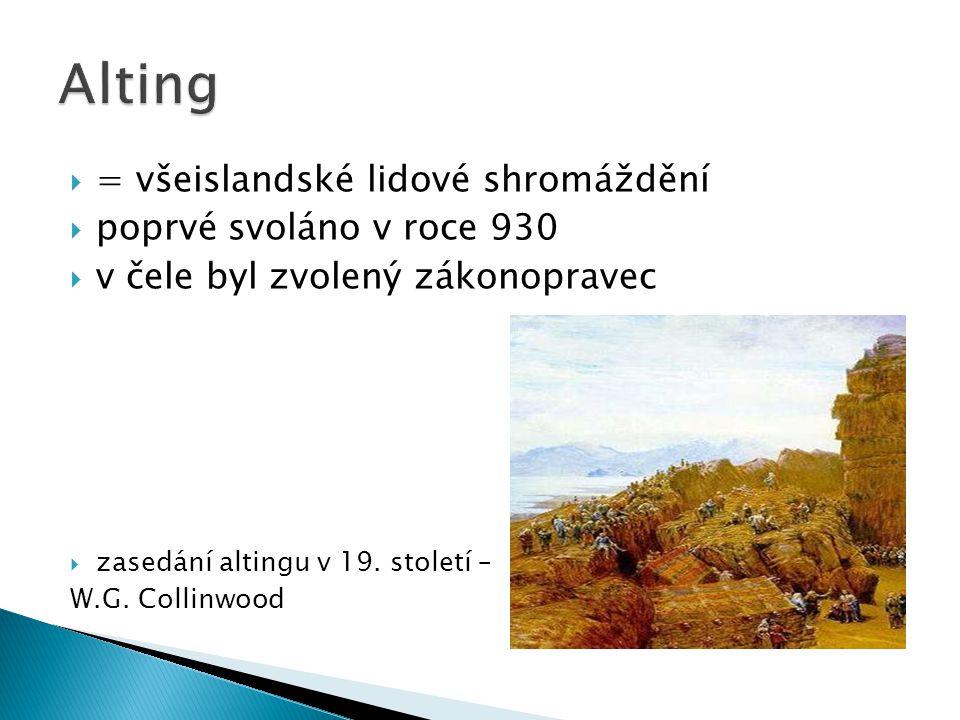 Alting = všeislandské lidové shromáždění poprvé svoláno v roce 930
