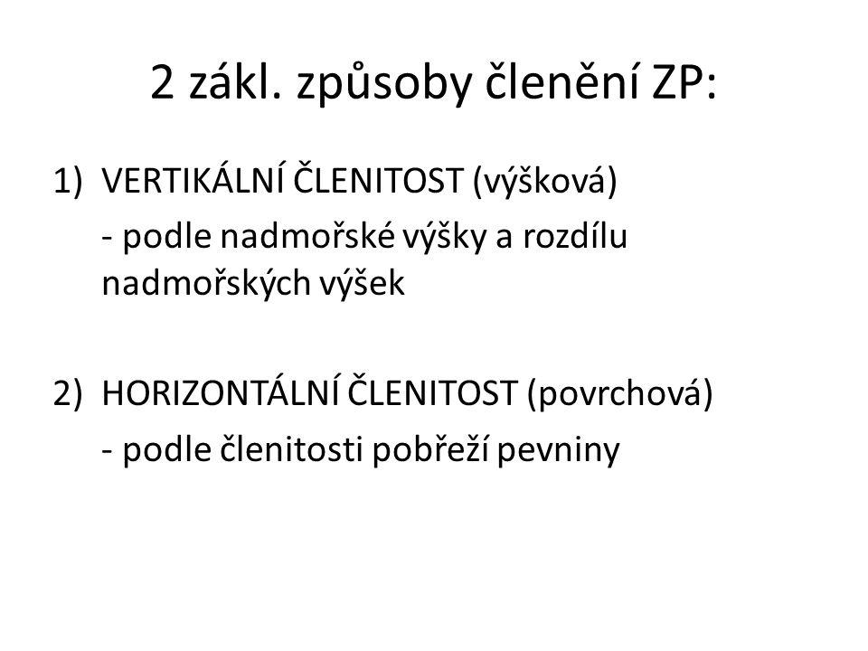 2 zákl. způsoby členění ZP:
