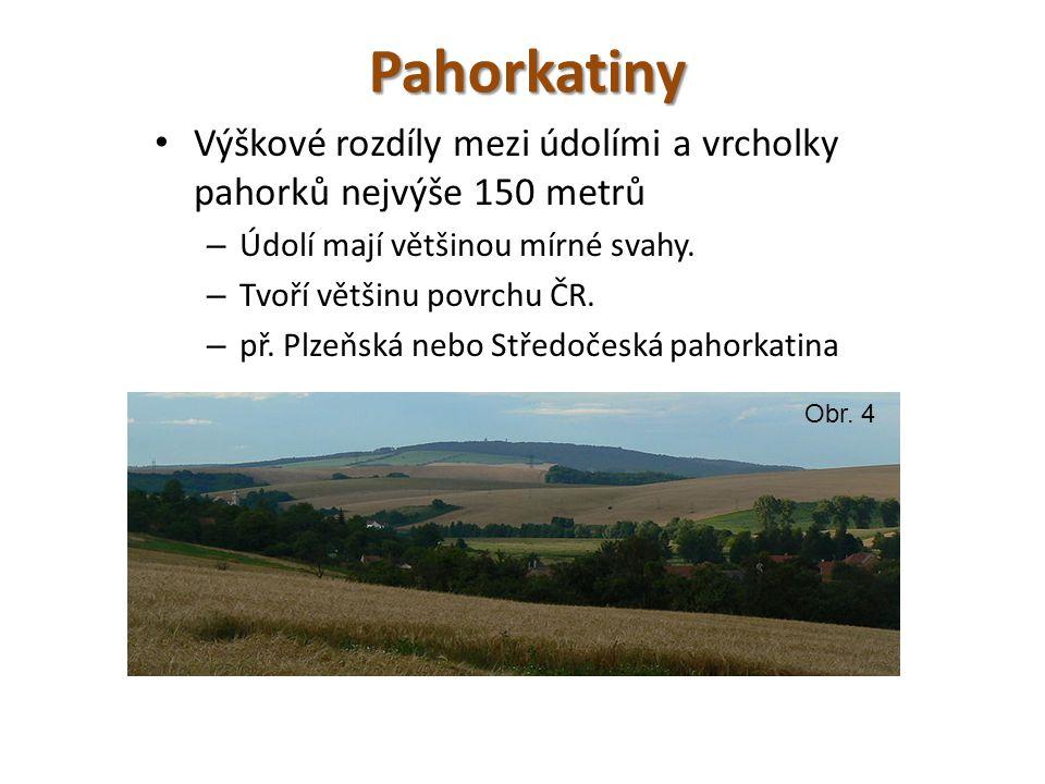 Pahorkatiny Výškové rozdíly mezi údolími a vrcholky pahorků nejvýše 150 metrů. Údolí mají většinou mírné svahy.