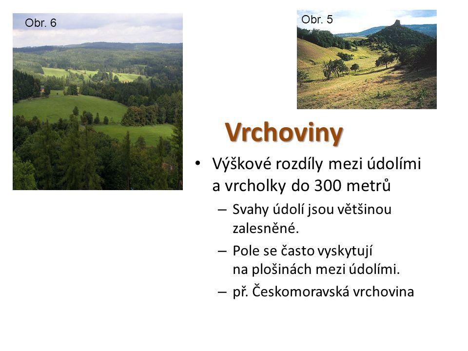 Vrchoviny Výškové rozdíly mezi údolími a vrcholky do 300 metrů