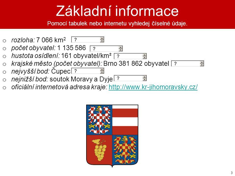 Základní informace Pomocí tabulek nebo internetu vyhledej číselné údaje.