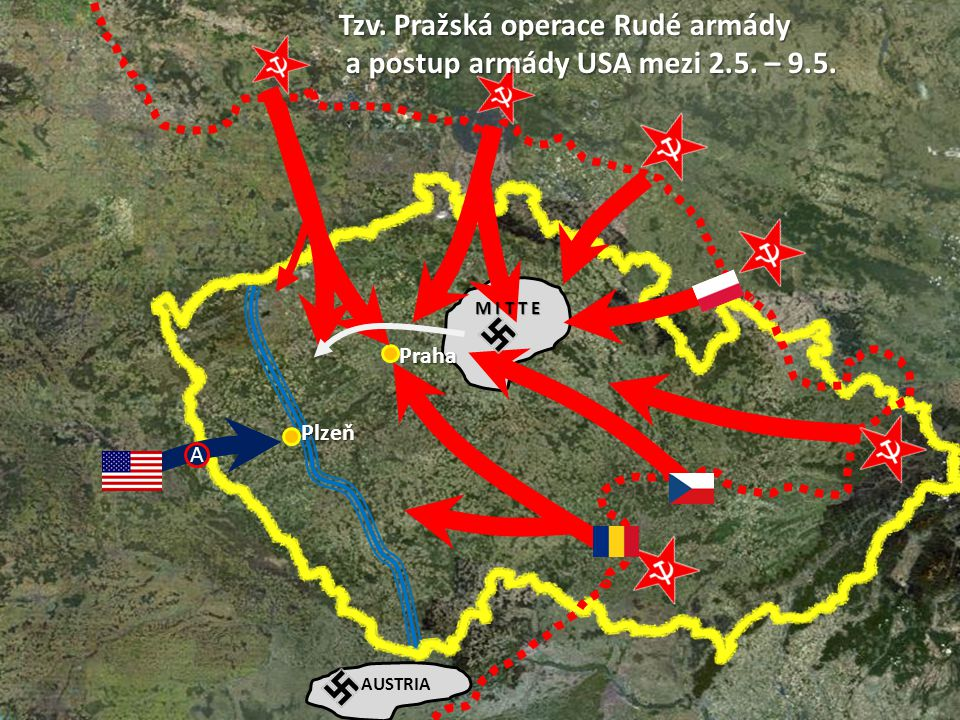 Tzv. Pražská operace Rudé armády a postup armády USA mezi 2.5. – 9.5.
