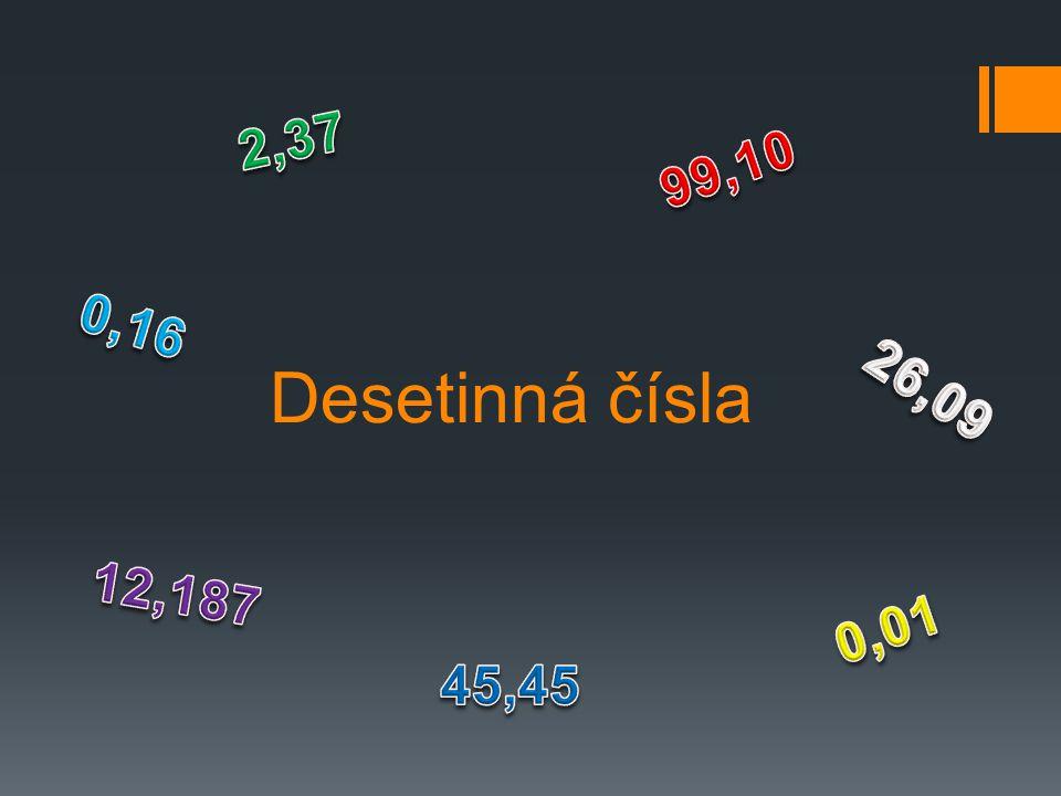 2,37 99,10 0,16 Desetinná čísla 26,09 12,187 0,01 45,45