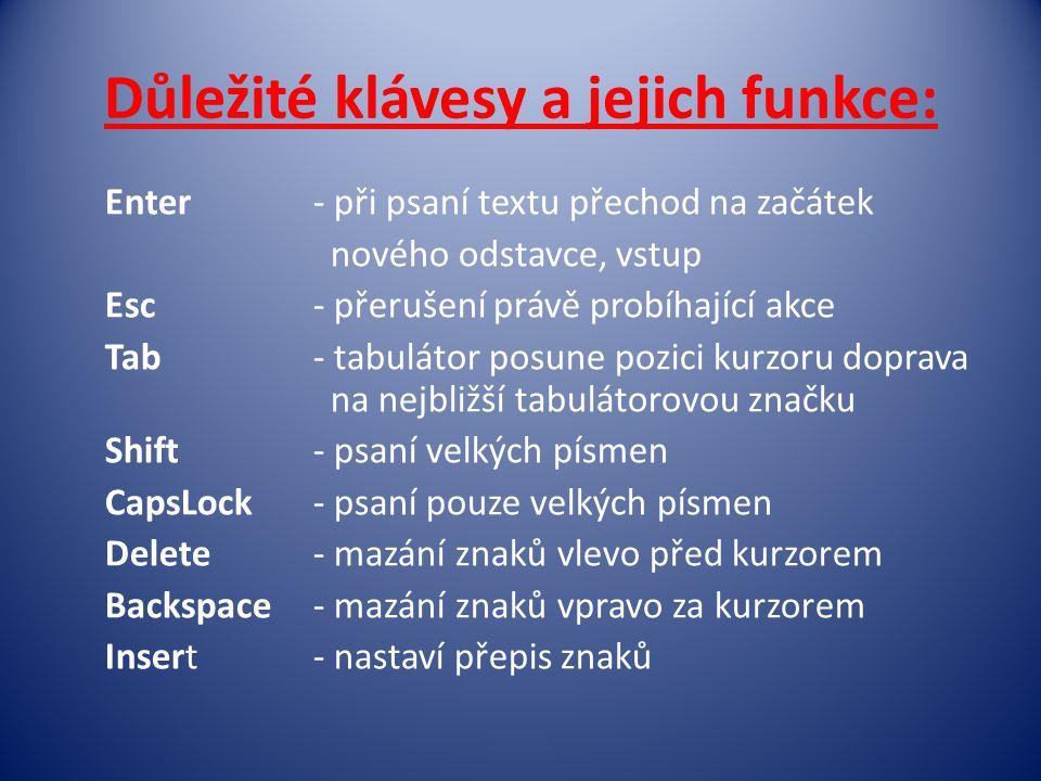 Důležité klávesy a jejich funkce: