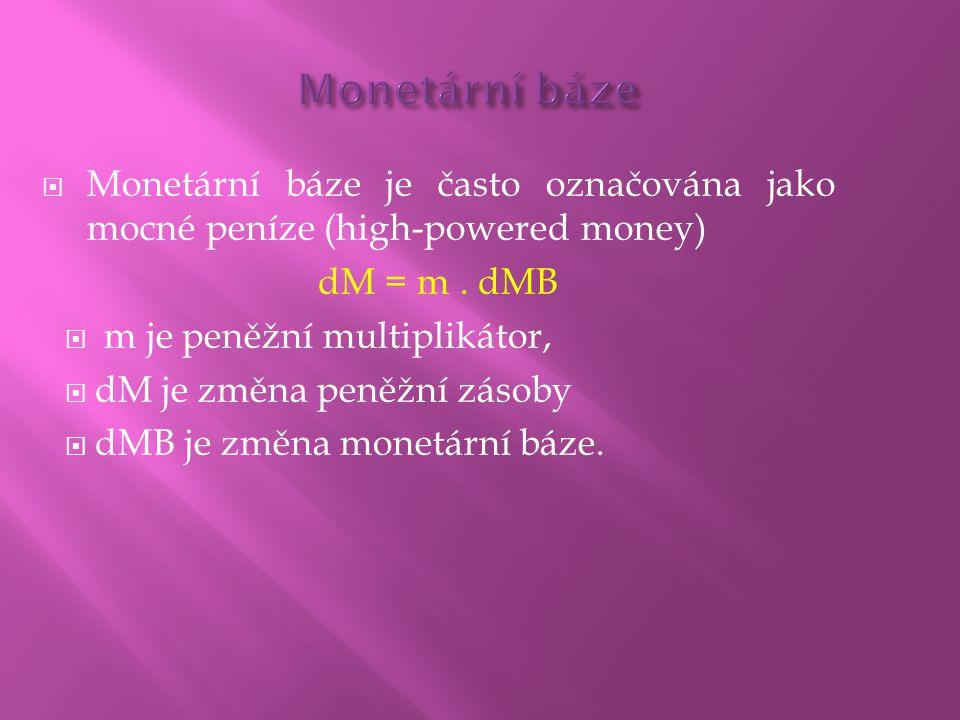 Monetární báze Monetární báze je často označována jako mocné peníze (high-powered money) dM = m . dMB.