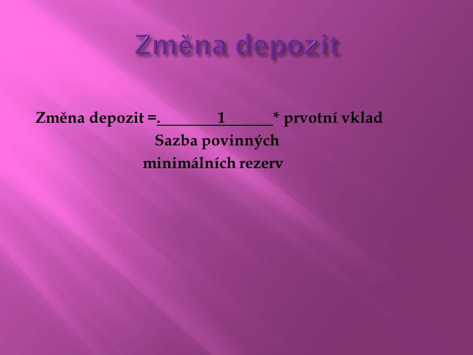 Změna depozit Změna depozit =. 1 * prvotní vklad Sazba povinných