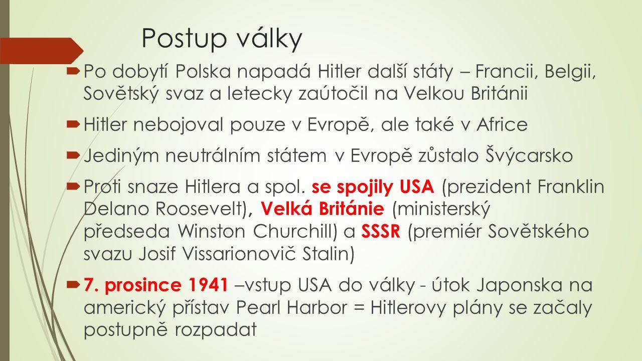 Postup války Po dobytí Polska napadá Hitler další státy – Francii, Belgii, Sovětský svaz a letecky zaútočil na Velkou Británii.