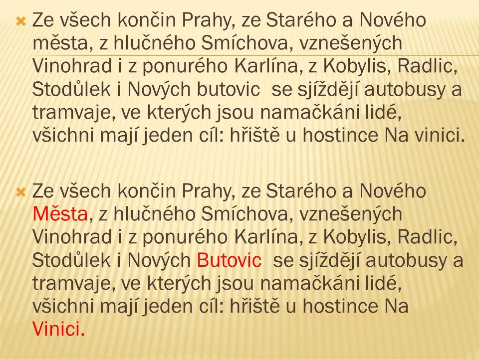 Ze všech končin Prahy, ze Starého a Nového města, z hlučného Smíchova, vznešených Vinohrad i z ponurého Karlína, z Kobylis, Radlic, Stodůlek i Nových butovic se sjíždějí autobusy a tramvaje, ve kterých jsou namačkáni lidé, všichni mají jeden cíl: hřiště u hostince Na vinici.