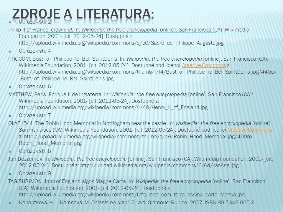 Zdroje a literatura: Obrázek str. 2