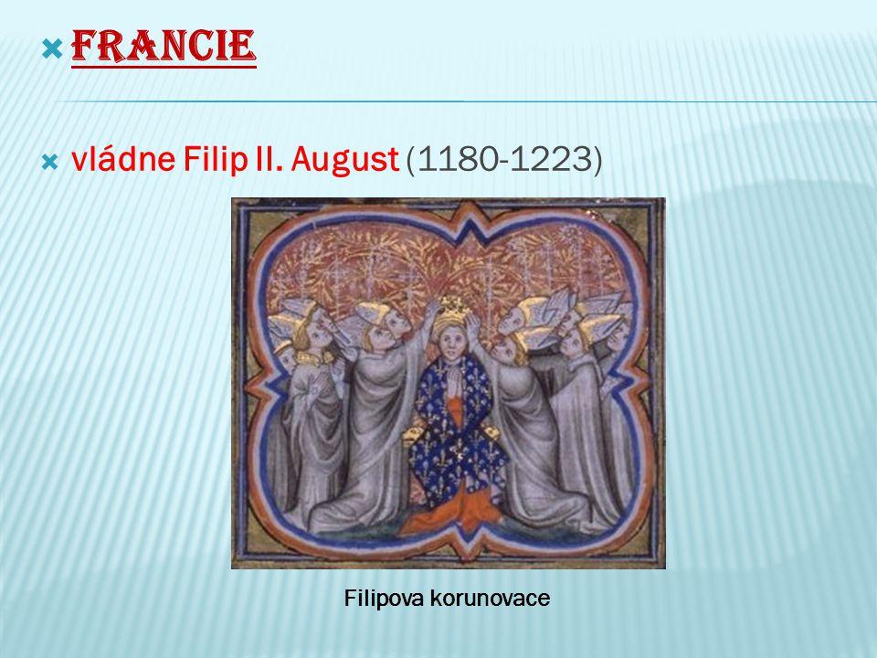 Francie vládne Filip II. August (1180-1223) Filipova korunovace