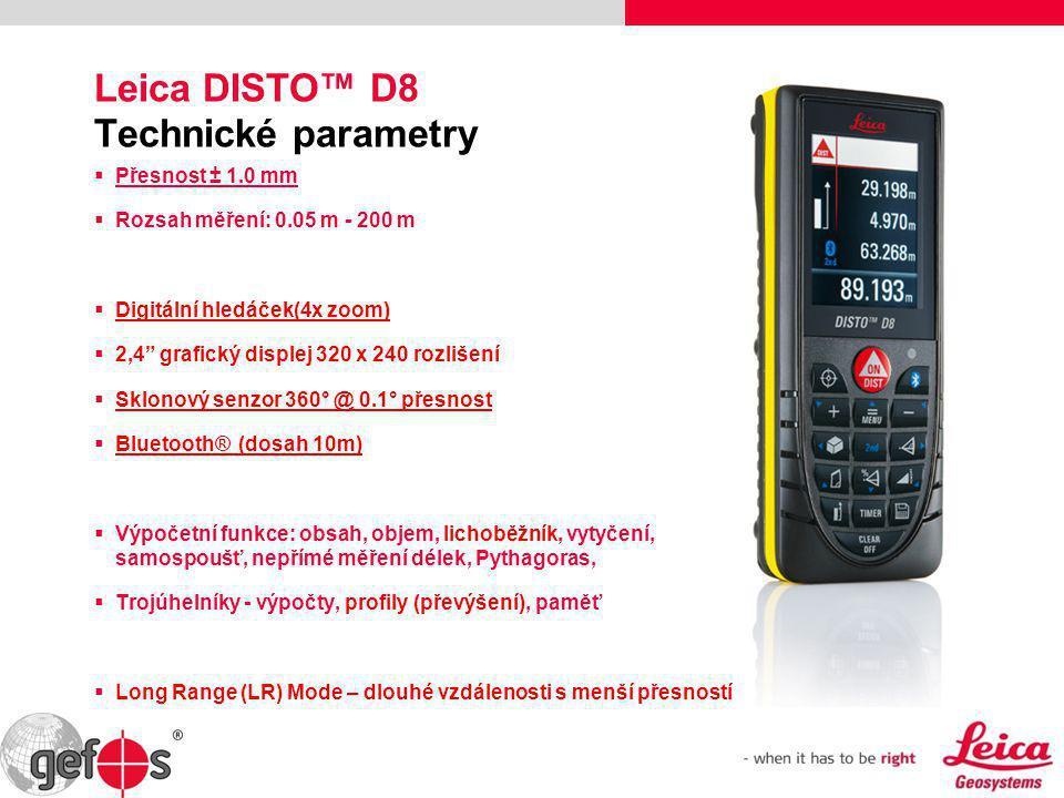 Leica DISTO™ D8 Technické parametry