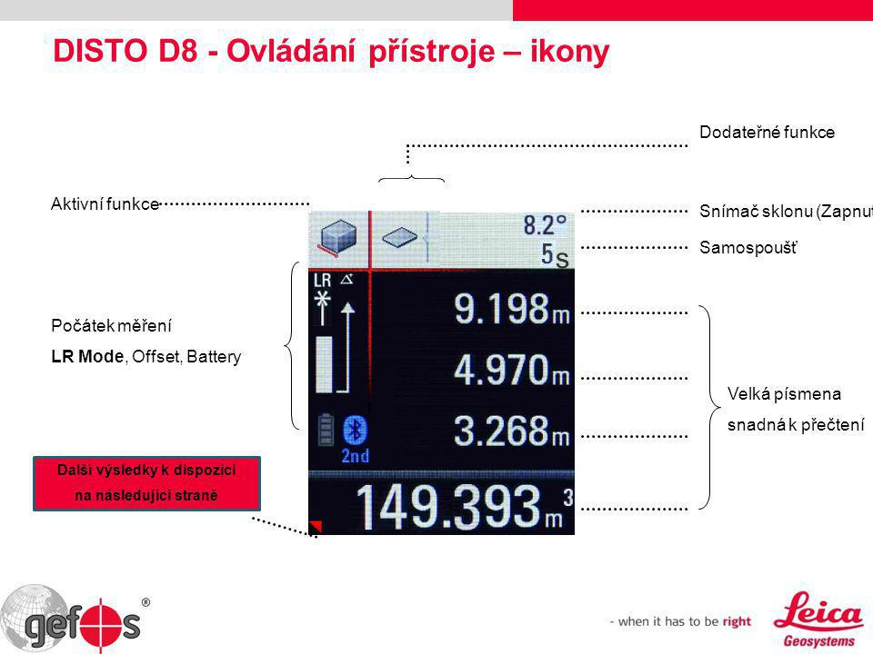 DISTO D8 - Ovládání přístroje – ikony