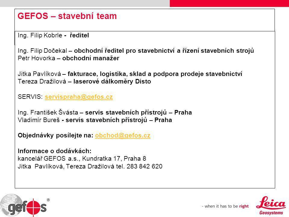 GEFOS – stavební team Ing. Filip Kobrle - ředitel
