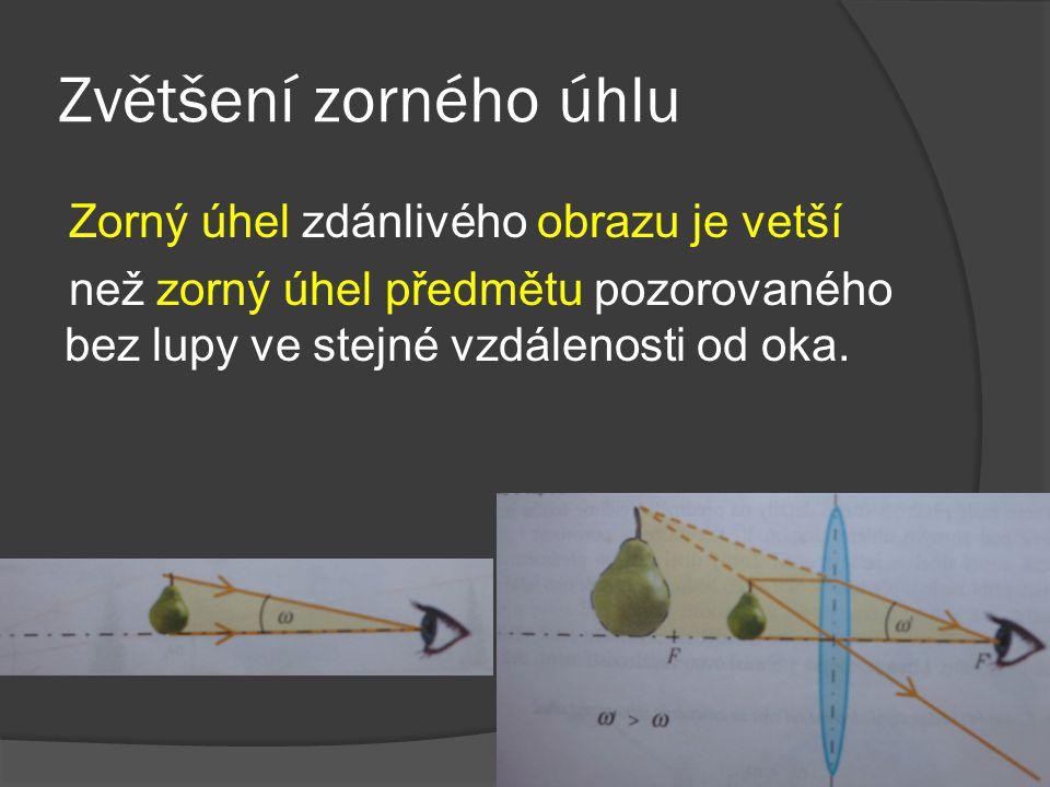 Zvětšení zorného úhlu Zorný úhel zdánlivého obrazu je vetší než zorný úhel předmětu pozorovaného bez lupy ve stejné vzdálenosti od oka.
