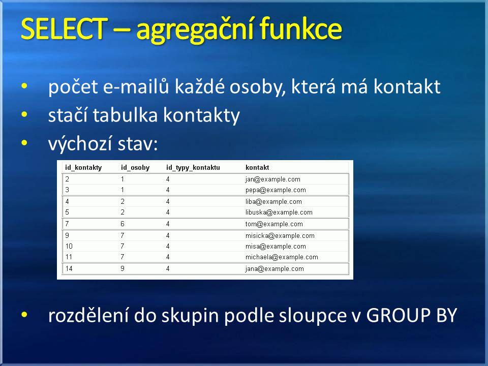 SELECT – agregační funkce