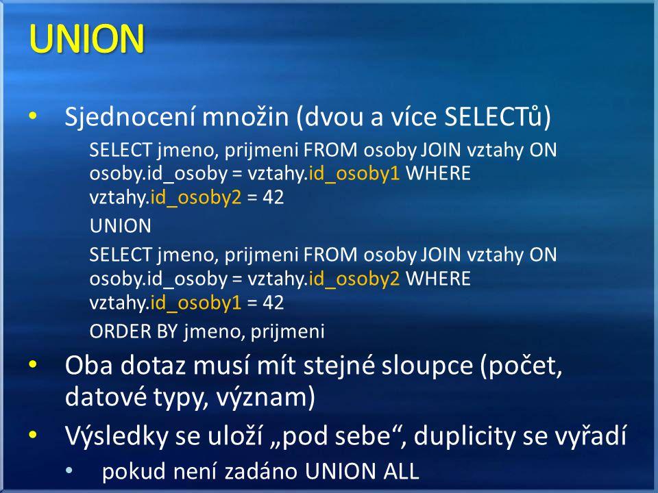 UNION Sjednocení množin (dvou a více SELECTů)