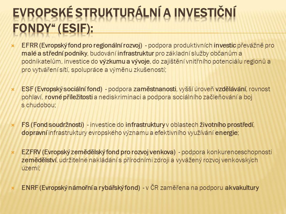 Evropské strukturální a investiční fondy (ESIF):