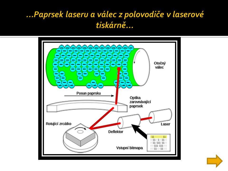 ...Paprsek laseru a válec z polovodiče v laserové tiskárně...