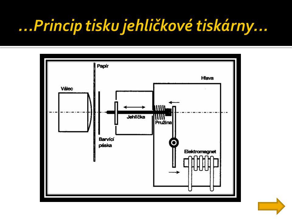 ...Princip tisku jehličkové tiskárny...