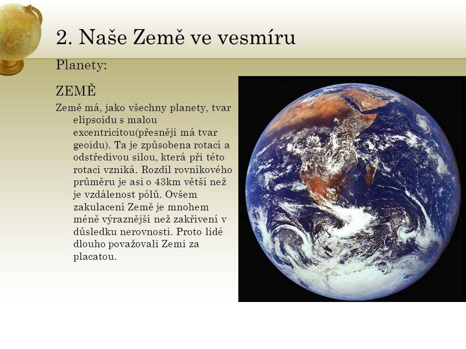 2. Naše Země ve vesmíru Planety: ZEMĚ