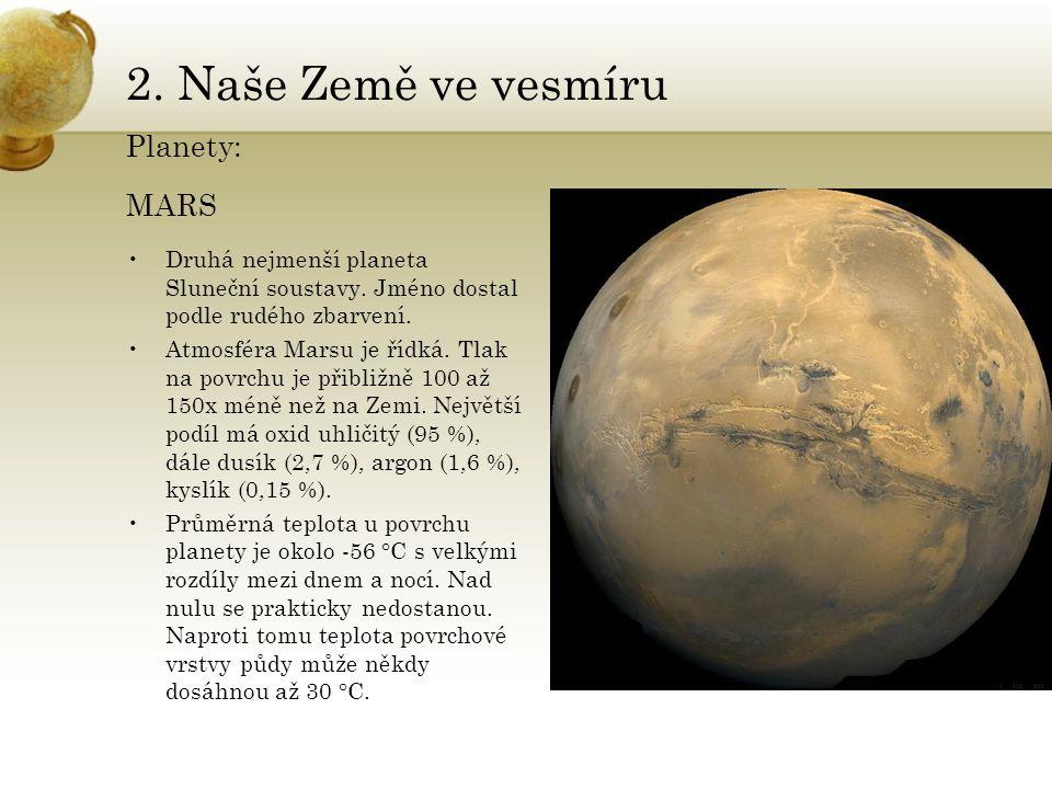 2. Naše Země ve vesmíru Planety: MARS