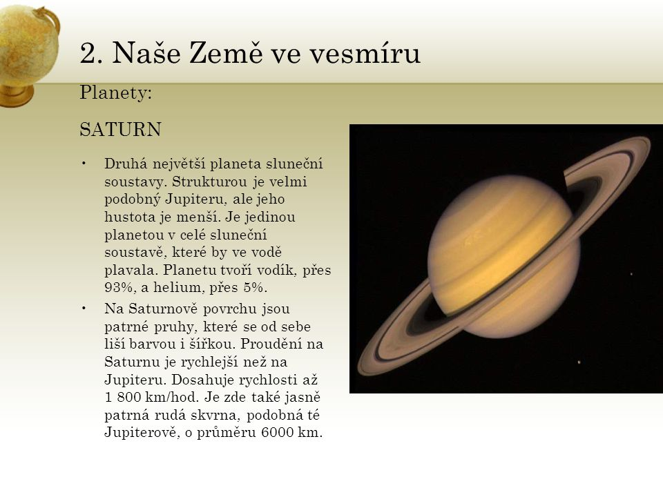 2. Naše Země ve vesmíru Planety: SATURN