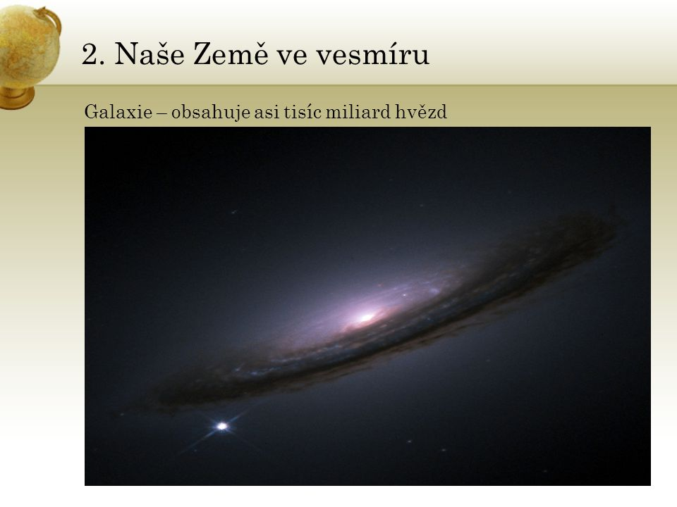 2. Naše Země ve vesmíru Galaxie – obsahuje asi tisíc miliard hvězd