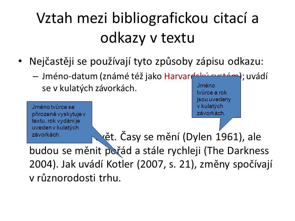 Vztah mezi bibliografickou citací a odkazy v textu
