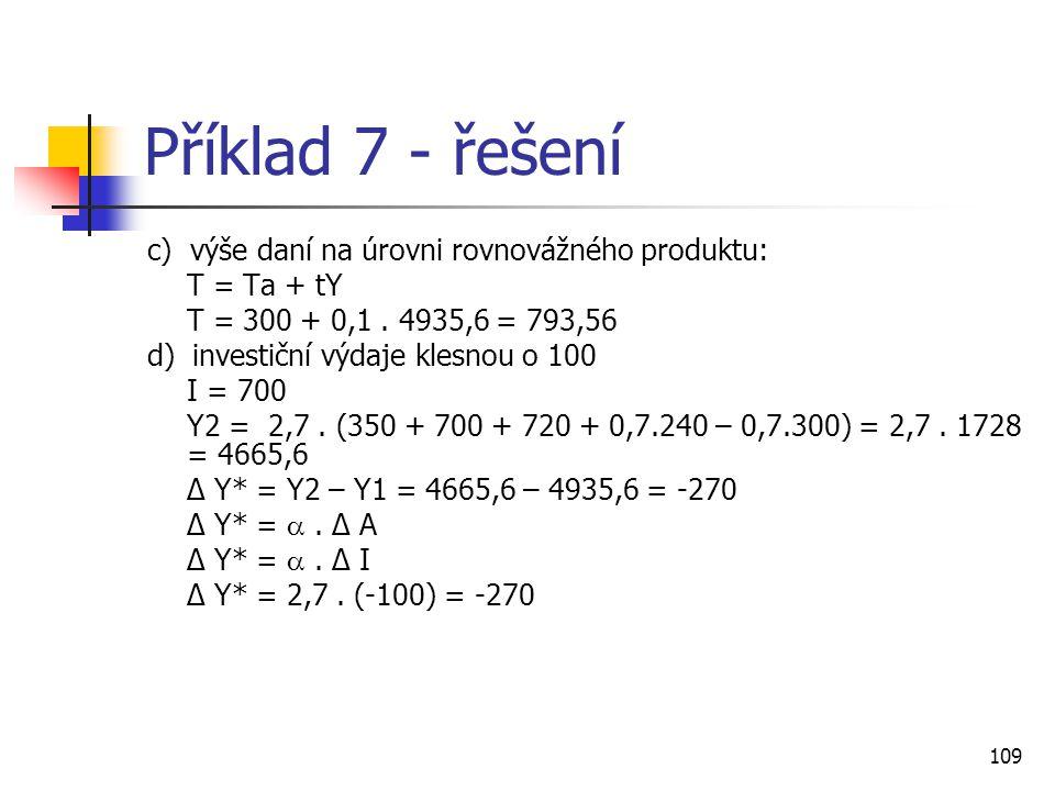 Příklad 7 - řešení c) výše daní na úrovni rovnovážného produktu: