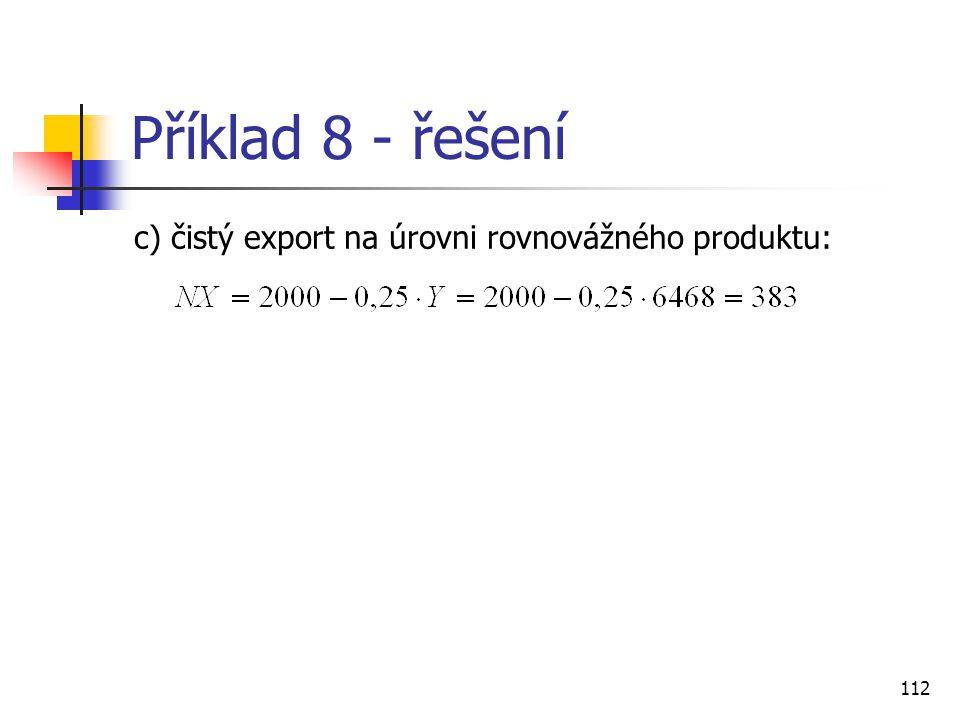 Příklad 8 - řešení c) čistý export na úrovni rovnovážného produktu: