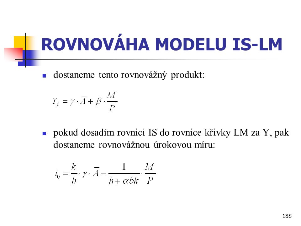 ROVNOVÁHA MODELU IS-LM