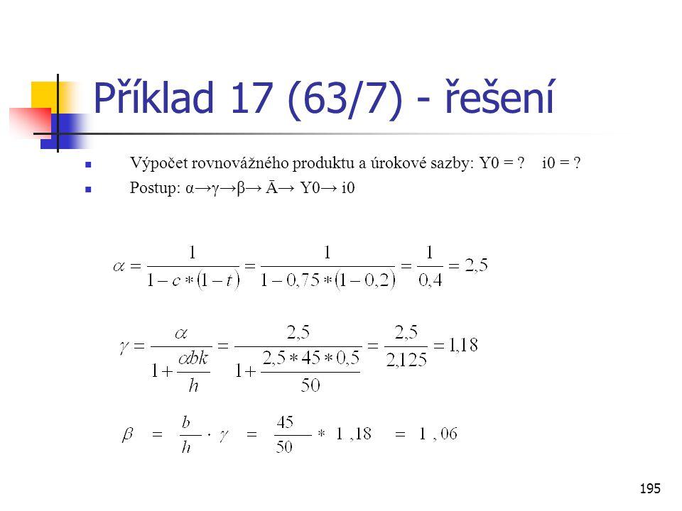 Příklad 17 (63/7) - řešení Výpočet rovnovážného produktu a úrokové sazby: Y0 = .