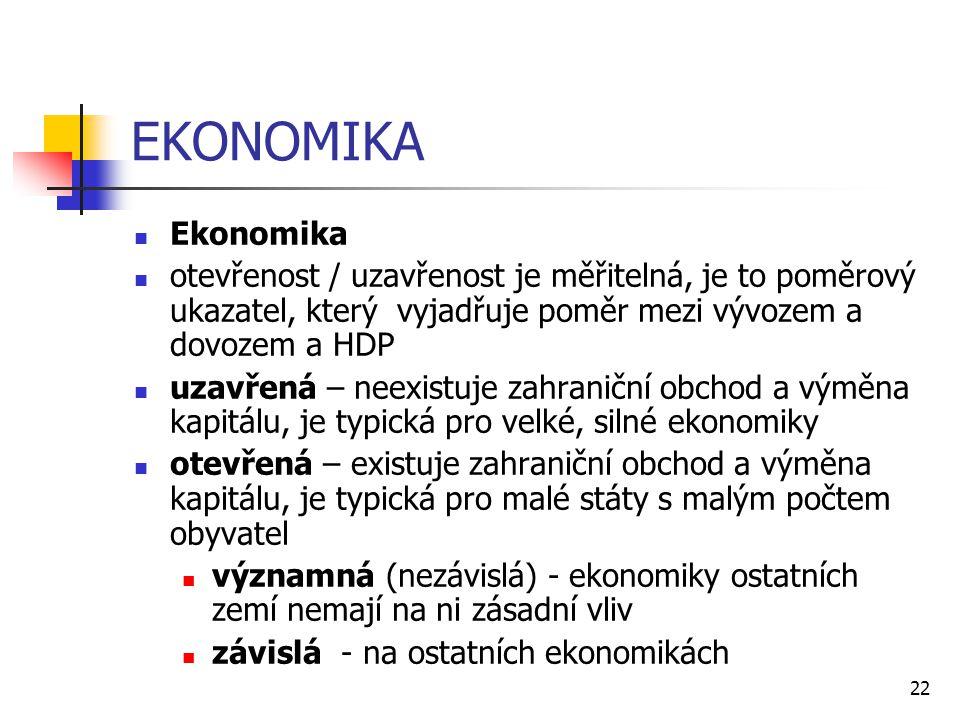 EKONOMIKA Ekonomika. otevřenost / uzavřenost je měřitelná, je to poměrový ukazatel, který vyjadřuje poměr mezi vývozem a dovozem a HDP.