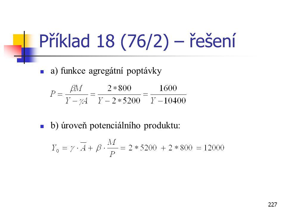Příklad 18 (76/2) – řešení a) funkce agregátní poptávky