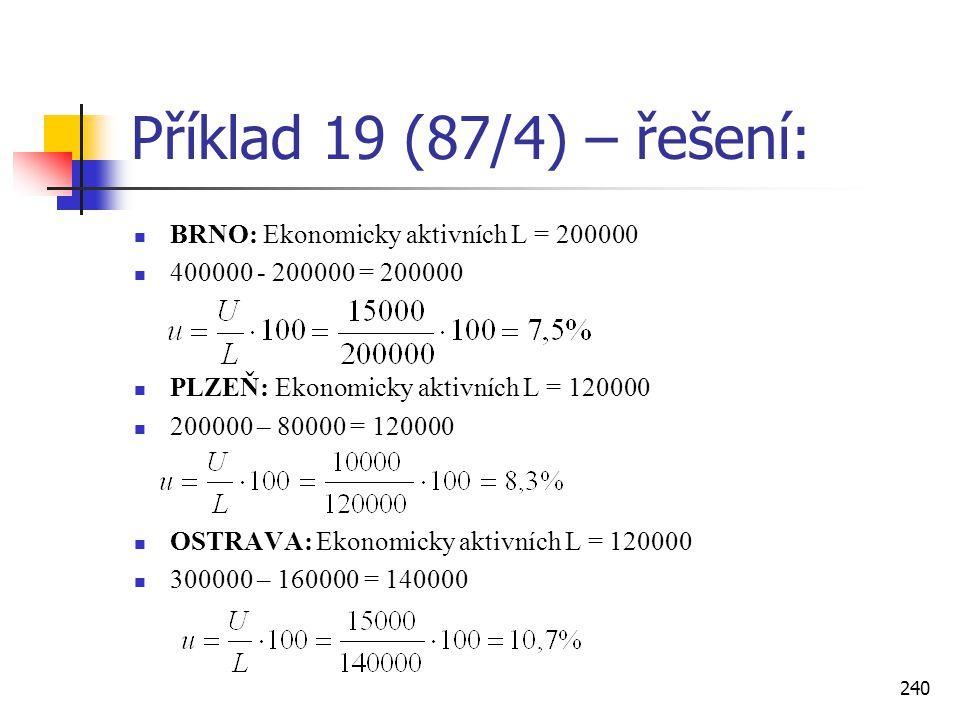 Příklad 19 (87/4) – řešení: BRNO: Ekonomicky aktivních L = 200000