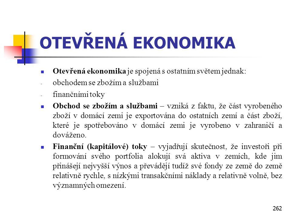 OTEVŘENÁ EKONOMIKA Otevřená ekonomika je spojená s ostatním světem jednak: obchodem se zbožím a službami.