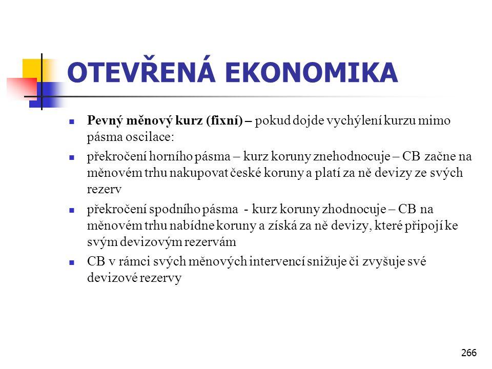 OTEVŘENÁ EKONOMIKA Pevný měnový kurz (fixní) – pokud dojde vychýlení kurzu mimo pásma oscilace: